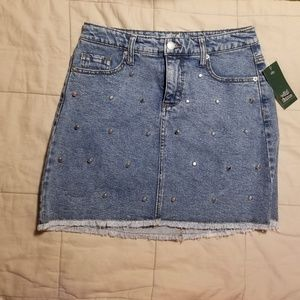 Cute Studded Jean Mini Skirt